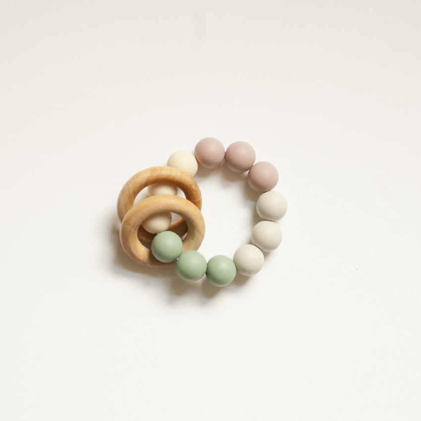 The Charlie - Teething Ring // Mauve + Sea Glass