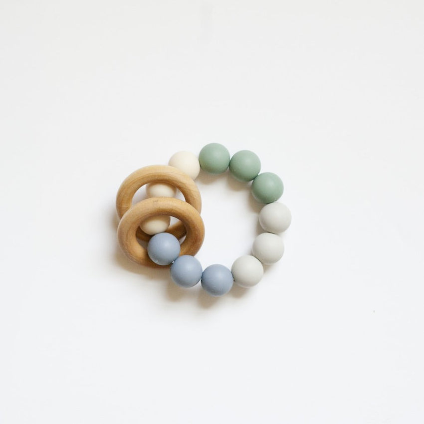 The Charlie - Teething Ring // Slate + Sea Glass