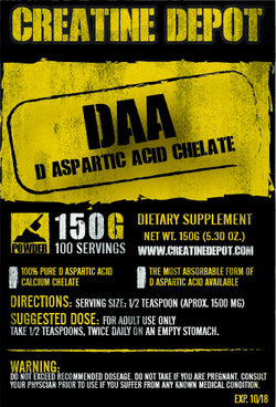 Creatine Depot DAA D Aspartic Acid Chelate150 grams
