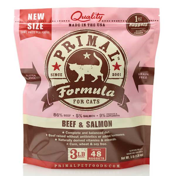 Primal Cat Raw Beef Salmon Nuggets 3 lb