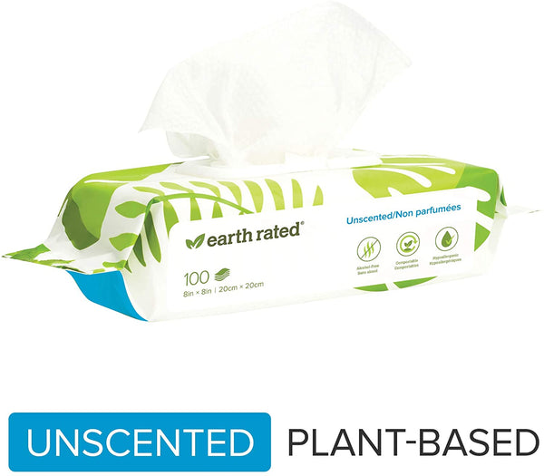 Earth Rated Compostable Dog Wipes 100 Pack