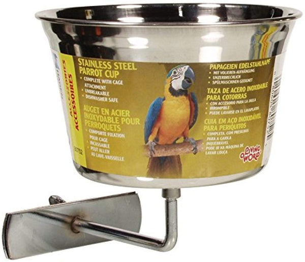 Living World Large Stainless Steel Parrot Bowl