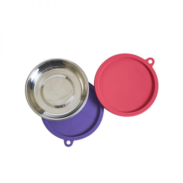 Messy Mutts 4 Piece Stainless Bowl with Silicone Lid