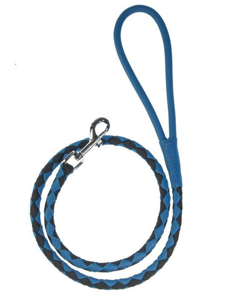 "Dogline Leather Braided Lead 3/8"" X 48"" long - Royal Blue & Black"