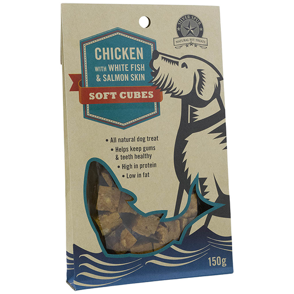 Silver Spur Chicken with White Fish Soft Cubes for Dogs 150g