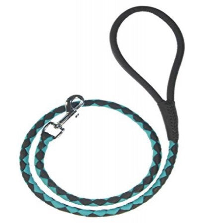 "Dogline Leather Braided Lead 3/8"" X 48"" long - Black & Teal"