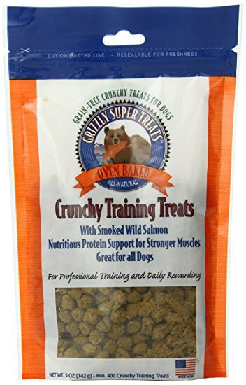 Grizzly Super Treats Crunchy Training Treats for Dogs- Smoked Wild Salmon 5oz