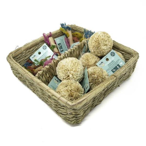 OXBOW Play Pom & Rainbow Knot Stick Basket