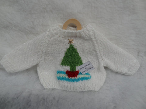 Hand Knitted White Christmas Tree Jumper for Teddy Bears.