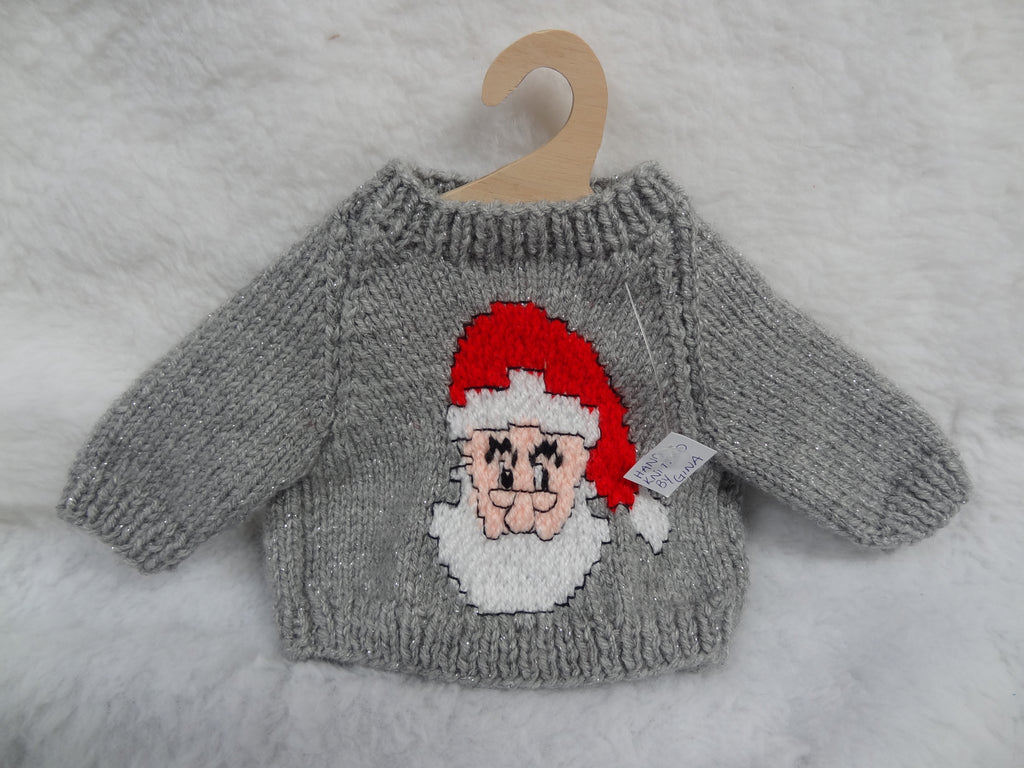 Hand Knitted Grey Father Christmas Jumper for Teddy Bears