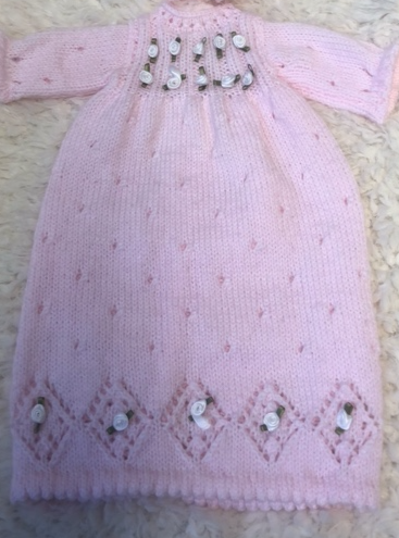 Pink knitted Doll Dress with Matching Bonnet