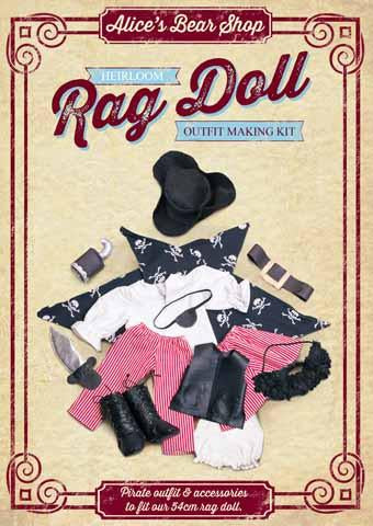 Rag Doll Outfit Making Kit - Pirate Outfit to fit our 54cm Rag Doll
