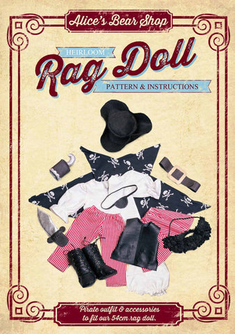 Rag Doll Pattern and Instructions - Pirate Outfit to fit our 54cm Rag Doll