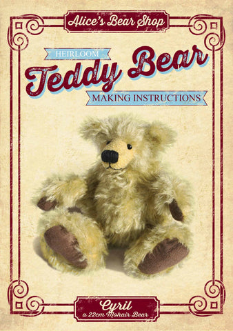 Teddy Bear Pattern and A5 Instruction Booklet - Cyril Bear 22cm when made