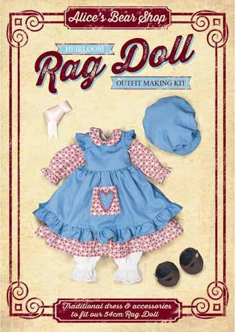 Rag Doll Outfit Making Kit - Traditional Dress Outfit to fit our 54cm Rag Doll