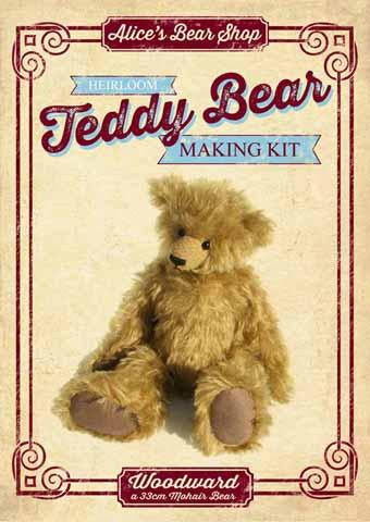Mohair Teddy Bear Making Kit - NEW FABRIC - Woodward 33cm when made