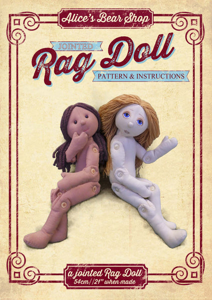 Button Jointed Rag Doll Pattern & A5 Instruction booklet - to make 54cm Rag Doll