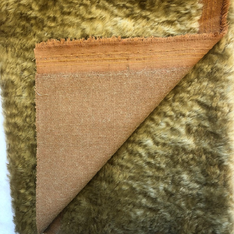 Mohair Fabric Piece - 15mm Old Gold Wavy Dense Fur on Tan Backing (67cm x 50cm)
