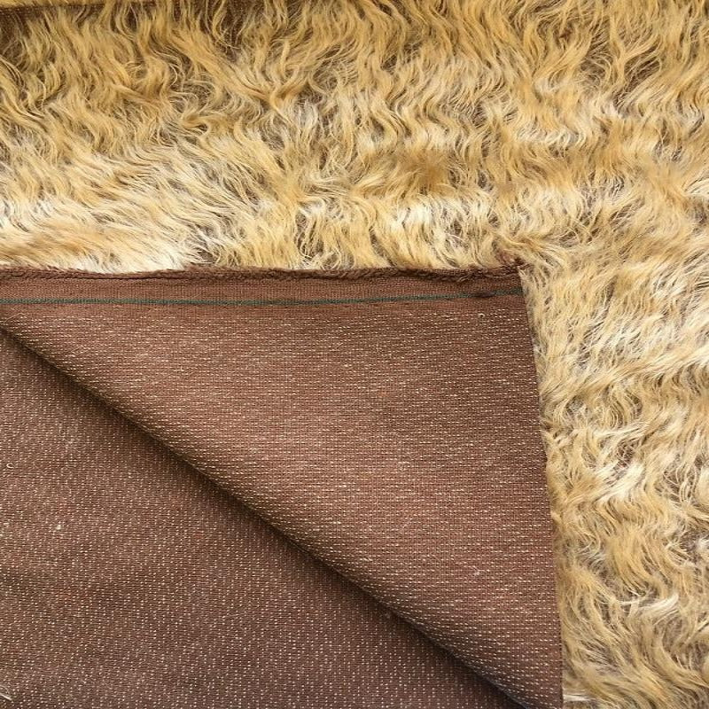 Mohair Fabric Piece - 25mm Pale Biscuit Wavy Fur on Brown Backing (140cm x 30cm)