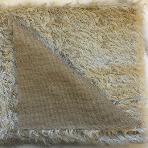 Mohair Fabric Piece - 20mm Sparse Wavy White Gold on Beige  (52cm x 75cm)
