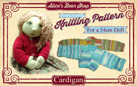 "*DOWNLOAD* - Knitting Pattern - Cardigan for 54cm/21"" Rag Doll"