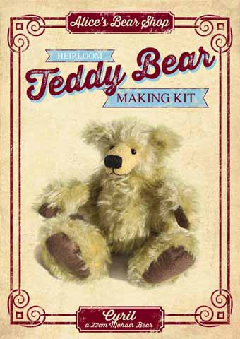 Mohair Teddy Bear Making Kit - Cyril 22cm when made - Alice's Bear Shop