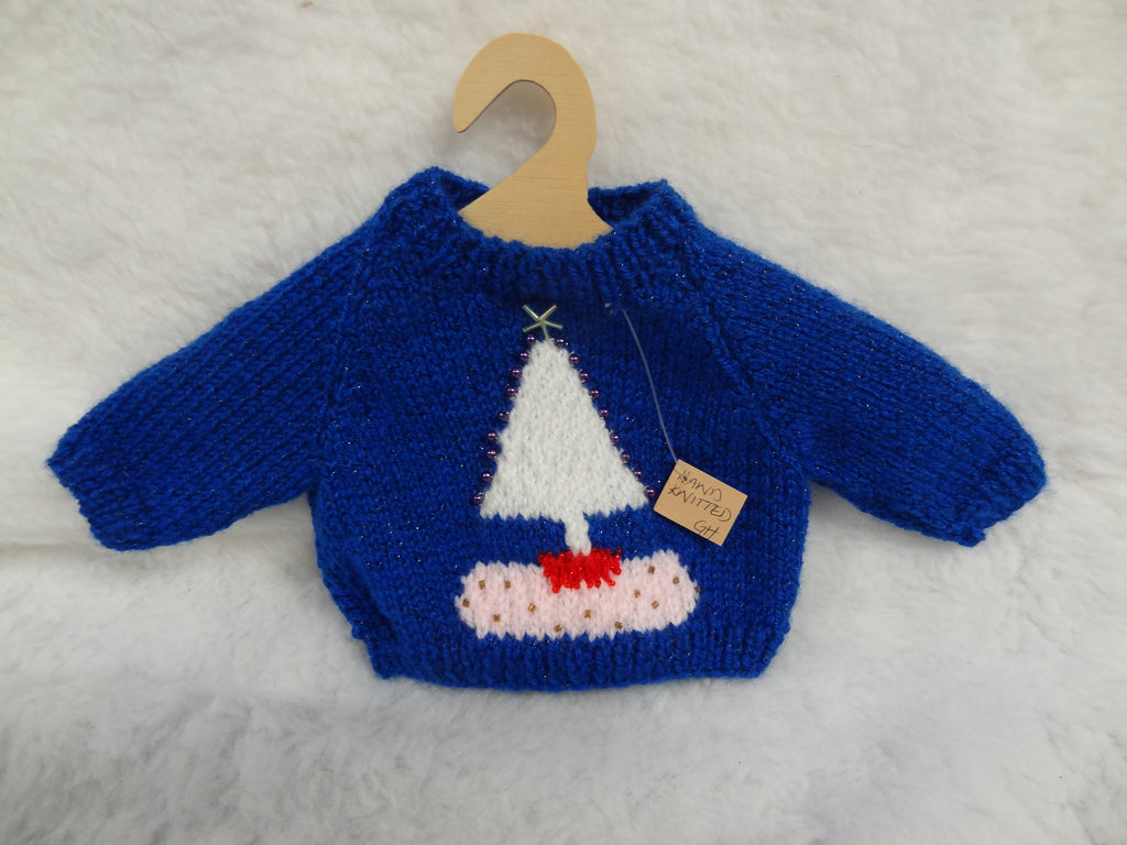Hand Knitted Blue Christmas Tree Jumper for Teddy Bears.