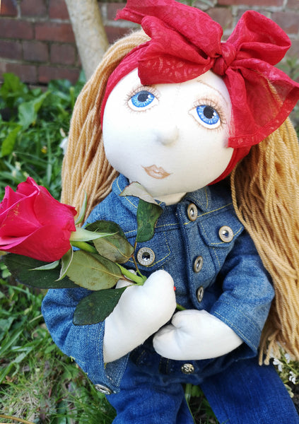 *DOWNLOAD* Sewing a Rag Doll Denim Set Outfit- Pattern and Instructions - to fit our 54cm Rag Doll - Alice's Bear Shop
