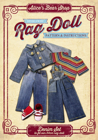 *DOWNLOAD* Sewing a Rag Doll Denim Set Outfit- Pattern and Instructions - to fit our 54cm Rag Doll