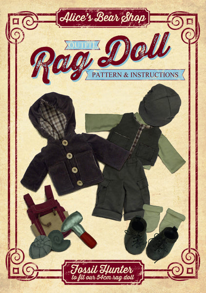 *DOWNLOAD* Sewing a Rag Doll Fossil Hunter Outfit- Pattern and Instructions - to fit our 54cm Rag Doll - Alice's Bear Shop