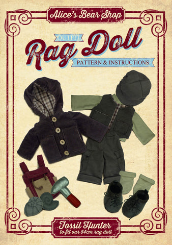 Download - Pattern and Instructions - Rag Doll Fossil Hunter Outfit to fit our 54cm Rag Doll