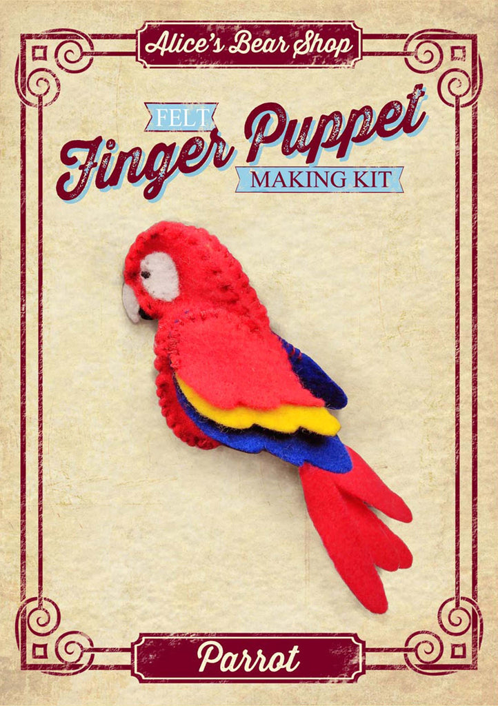 Finger Puppet Kit with Pattern and A5 Instructions - Parrot - Alice's Bear Shop