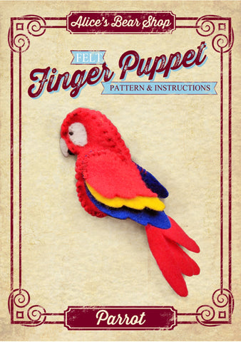 Download - Pattern and Instructions - Parrot Finger Puppet - Alice's Bear Shop