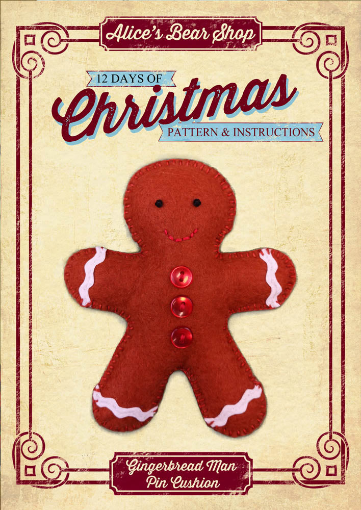 *DOWNLOAD* - Pattern and Instructions - Gingerbread Man, Pin Cushion - Alice's Bear Shop