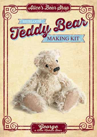 Mohair Teddy Bear Making Kit - George 12cm when made - Alice's Bear Shop