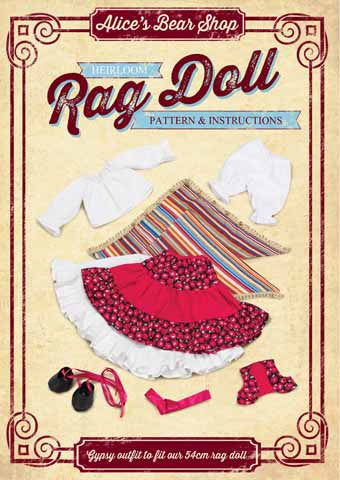 *DOWNLOAD* Sewing a Rag Doll Outfit - Gypsy - Pattern and Instructions - to fit our 54cm Rag Doll - Alice's Bear Shop