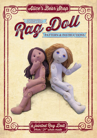Button Jointed Rag Doll Pattern and Instructions Download - to make 54cm Rag Doll