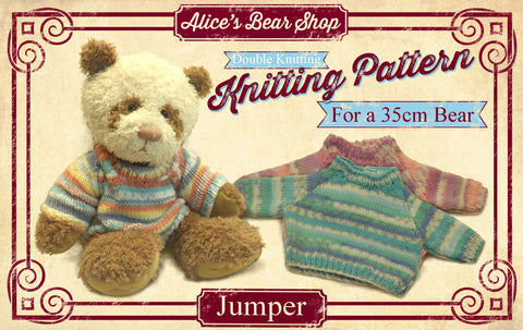"*DOWNLOAD* - Knitting Pattern - Jumper for 35cm/14"" Teddy Bear"