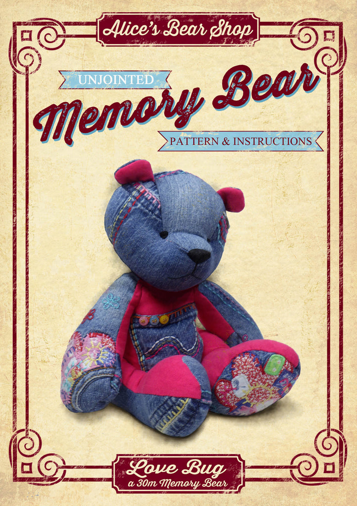 "Making an Unjointed Memory Bear Pattern and Instructions Download - Love Bug - 30cm/12"" when made - Alice's Bear Shop"