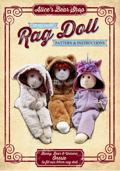 *DOWNLOAD* Sewing a Rag Doll Outfit - Onesie - Pattern and Instructions - to fit our 54cm Rag Doll - Alice's Bear Shop