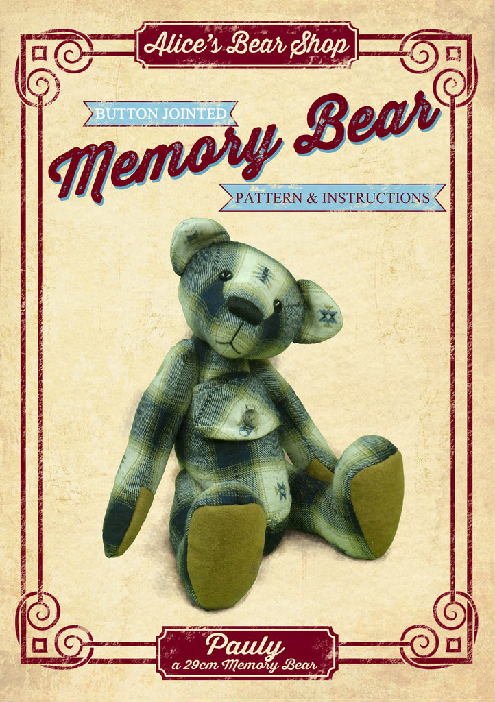 "Making a Button Jointed Memory Bear Pattern and Instructions Download - Pauly Bear - 29cm/11.4"" when made - Alice's Bear Shop"