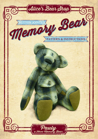 "Download - Button Jointed Memory Bear Pattern and Instructions - Pauly Bear 29cm/11.4"" when made"