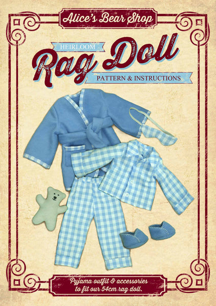*DOWNLOAD* Sewing a Rag Doll Outfit - Pyjamas - Pattern and Instructions - to fit our 54cm Rag Doll - Alice's Bear Shop