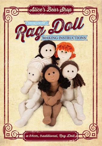 Sewing a Rag Doll Pattern and Instructions Download - to make 54cm Rag Doll - Alice's Bear Shop