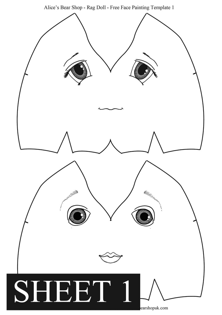 graphic about Printable Rag Doll Patterns identified as Free of charge Rag Doll Facial area Portray Templates