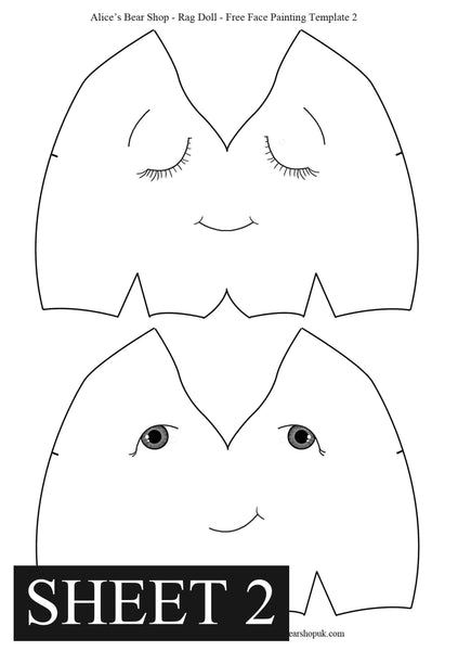Free Rag Doll Face Painting Templates - Alice's Bear Shop