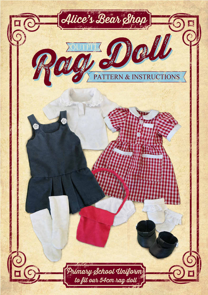 Sewing a Rag Doll Primary School Uniform Outfit - Pattern and Instructions Download - to fit our 54cm Rag Doll - Alice's Bear Shop