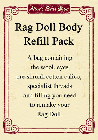 Refill Pack - Rag Doll Body - 54cm when made - Alice's Bear Shop