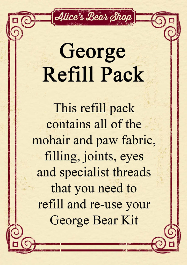 Refill Pack - George Bear - 12cm when made - Alice's Bear Shop