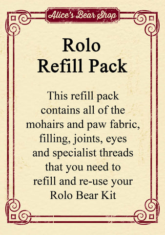 Refill Pack - Rolo Bear - 29cm when made - Alice's Bear Shop